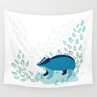 badger Wall Tapestries featuring Blue Badger by Ellinor Flood