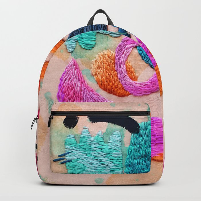 abstract embroidery Backpack