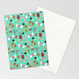 Christmas Sweeties Candies, Peppermints, Candy Canes and Chocolates on Aqua Stationery Cards