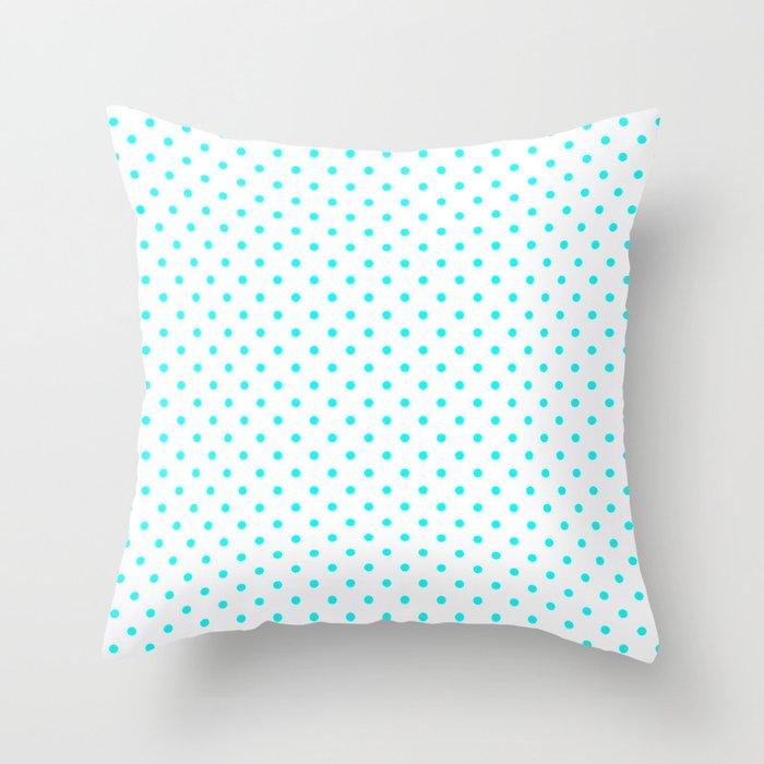 Dots (Aqua Cyan/White) Throw Pillow