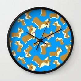 Corgi Love - Blue Wall Clock