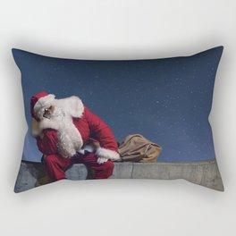 Santa Claus with sack. Magic Christmas Lights. Rectangular Pillow