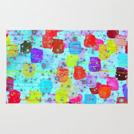 SPECKLE ME DOTTY - Bright Polka Dot Cheerful Aqua Turquoise Blue Rainbow Fine Art Abstract Painting Rug