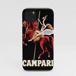 Vintage Campari Italian Bitters Woman and Red Horse Advertisement iPhone Case