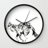 coyote Wall Clocks featuring COYOTE by ShelbyTaylor