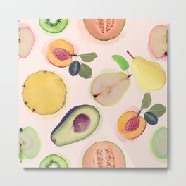 seamless   pattern with fresh fruits . Endless texture Metal Print