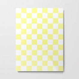 Checkered - White and Pastel Yellow Metal Print