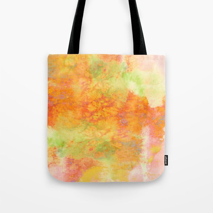 PASTEL IMAGININGS 3 Colorful Pretty Spring Summer Orange Yellow Peach Abstract Watercolor Painting Tote Bag