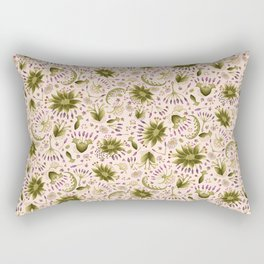 Botanical Wildflower Meadow Floral Watercolor Pink, Green, Lavender Flowers Rectangular Pillow