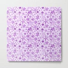 Purple Starfish Pattern Metal Print