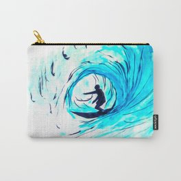 Lone Surfer Tubing the Big Blue Wave Carry-All Pouch