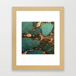 EMERALD AND GOLD Framed Art Print