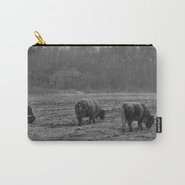 Highland Cows Photo in Black and White Carry-All Pouch