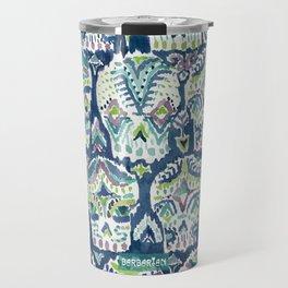 Indigo CARPE DIEM SKULLS Watercolor Travel Mug