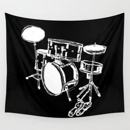 Drum Kit Rock Black White Wall Tapestry