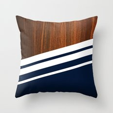 Wooden Navy Throw Pillow