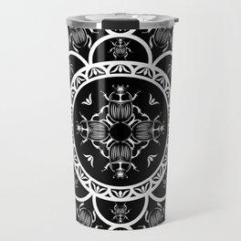 Scarab tile line pattern with black Background Travel Mug