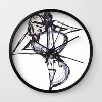 cello Wall Clocks featuring Cello by Myles Hunt