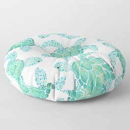 Sea Turtle Pattern - Blue Floor Pillow