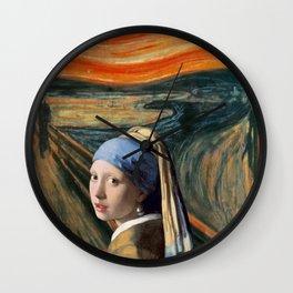 The Scream of Pearl Earring Girl Wall Clock