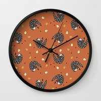 sloths Wall Clocks featuring Sleepy Sloths by Marzipress