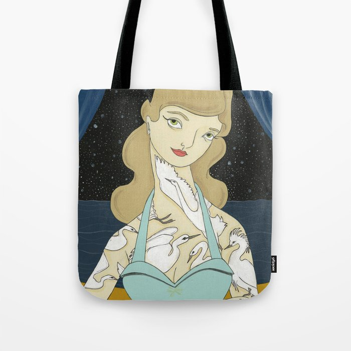 Tattooed Lady with White Herons Tote Bag