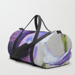 Flower, purple iris Duffle Bag