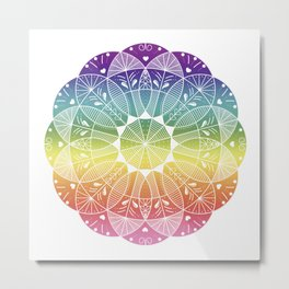 Pride Rainbow Gradient Mandala Metal Print