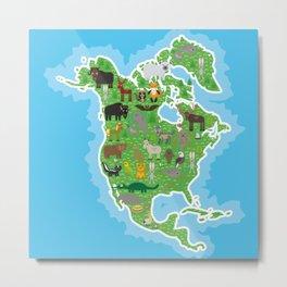 Map of North America with Animals bison bat manatee fox elk horse wolf partridge seal Polar bear Metal Print
