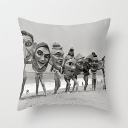 Women Wearing Bizzaro Macabre Carnival Masks at Venice Beach black and white photograph Throw Pillow