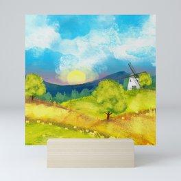 Watercolor Farm Landscape 1 Mini Art Print