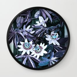 Lavender Turquoise Blue Passion Flowers Temple of Flora Wall Clock