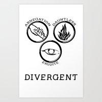 divergent Art Prints featuring Divergent (Black) by Lunil