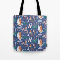 camp Tote Bags featuring Bear camp by Demi Goutte