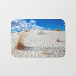 Playground - Vibrant Plant Life and Sandy Textures at White Sands New Mexico Bath Mat