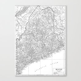 Vintage Map of Maine (1911) Canvas Print