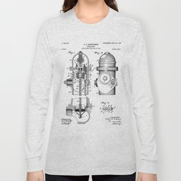 Fire Fighter Patent - Fire Hydrant Art - Black And White Long Sleeve T-shirt
