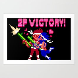 2P VICTORY! - Pixel Art Art Print