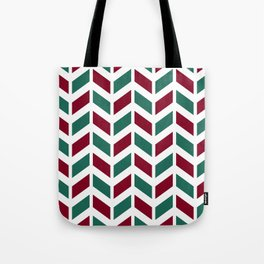 Dark red, teal green and white chevron pattern Tote Bag