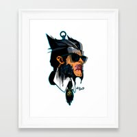 karl lagerfeld Framed Art Prints featuring wolvereen  vs Karl Lagerfeld  by el brujo