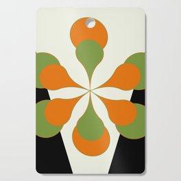 Mid-Century Modern Art 1.4 - Green & Orange Flower Cutting Board
