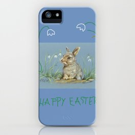 Spring Rabbit & Happy Easter quote iPhone Case
