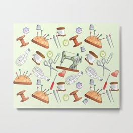 The Sewing Room Hand Drawn Crafty Sewing Pattern Metal Print