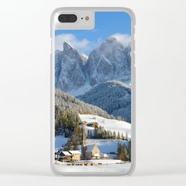 Dolomites village in the snow in winter Clear iPhone Case