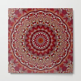 Ruby Red Mandala Metal Print