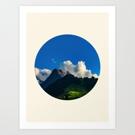 Green Mountain Valley Clouds & Blue Sky Art Print