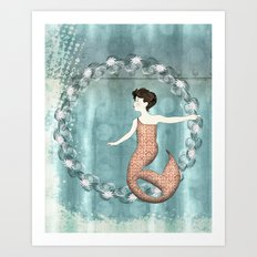 Mermaid Wreath Art Print