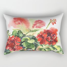 plant geranium, flowers and leaves, watercolor Rectangular Pillow