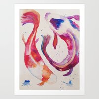 koi Art Prints featuring Koi by Ameliamiller