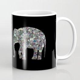 Sparkly colourful silver mosaic Elephant Coffee Mug